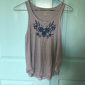 NWT American Eagle Embroidered Striped Tank Top